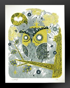 Enamored Owl / Letterpress Limited Edition by acerriteno on Etsy, $25.00