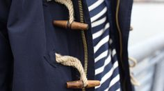Toggle coats and nautical stripes were made to go together. I like that this coat is made from lightweight twill rather than the traditional heavy wool, making it possible to sport the toggle look in warmer weather. Look Fashion, Winter Fashion, Mens Fashion, Fashion Spring, I Look To You, Preppy Style, My Style, Nautical Stripes, Nautical Style