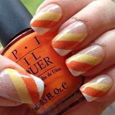White-orange-yellow diagonal french manicure with glitter ♡