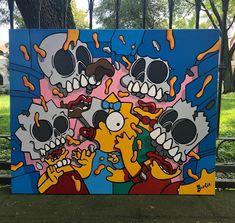 Hippie Painting, Trippy Painting, Cartoon Painting, Cartoon Art, Painting & Drawing, Easy Canvas Art, Simple Canvas Paintings, Small Canvas Art, Mini Canvas Art