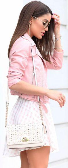 This cropped pink jacket + wonderful alternative to classic black biker jacket + Camila Coelho + super cute gingham mini skirt + playful summer style  Dress: Lovers and Friend, Jacket: Zara, Sandals: Aquazurra.