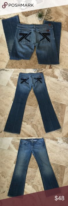 7 For All Mankind Flynt Jeans Size 31 7 For All Mankind Flynt Jeans with black crystals and ribbon on the back pockets. Fading through the thighs. Excellent Condition. 7 For All Mankind Jeans Boot Cut