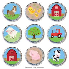 Cute idea for a Barnyard Birthday Party or Baby Shower! Simply peel and stick our Barnyard themed stickers on Hershey Kisses and other small candies for the perfect favor or Farm Animal Party, Farm Animal Birthday, Barnyard Party, Farm Birthday, Farm Party, Boy Birthday Parties, Birthday Party Favors, Baby Shower Card Sayings, Candy Cards
