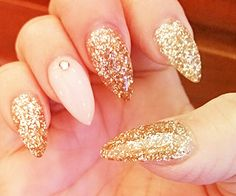 Gold glitter powder stilleto nails