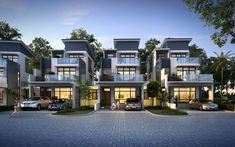 Captivating Townhouse Design Ideas Everyone Should Try 12 – Home Design Row House Design, Duplex Design, Villa Design, Modern House Design, Residential Architecture, Modern Architecture, Modern Townhouse, 3d Architectural Visualization, Facade House