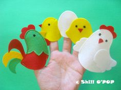 Chicken Family Felt Finger Puppets PDF Pattern by ShillOPOP
