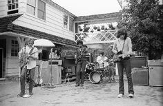 Crosby, Stills, Nash, & Young rehearsing for Woodstock in Laurel Canyon (1969)