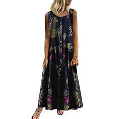Women'S Dresses Plus Size Bohemian ONeck Floral Print Dress Summer Vintage Sleeveless Long Maxi Dress Vestidos Size S Color Navy 1 Red Backless Dress, Sexy Maxi Dress, Sexy Dresses, Long Dresses, Tank Dress, Boho Dress, Plus Size Sundress, Plus Size Maxi Dresses, Vintage Summer Dresses