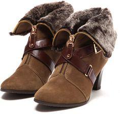 Suade+fur zip boots / ShopStyle: テーン tehen ドレスブーツ