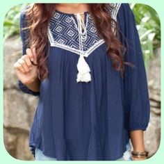 NWT Gorgeous Embroidered Blue/White Peasant Blouse This is such a nice top! Gorgeous embroidery! I was really disappointed it did not fit me! Your gain my loss! Super pretty! Armpit to armpit 18 inches! Boutique Tops Blouses