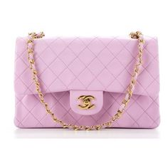 Chanel Pre-Owned Chanel Pink Lambskin Medium Double Flap Bag... (215.410 RUB) ❤ liked on Polyvore featuring bags, handbags, pink, chain strap handbags, pink hand bags, vintage purses, chanel purse and chain purse