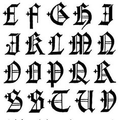 4 Gothic Style Graffiti Alphabet Letters A Z Black White Alphabets Fonts Goth