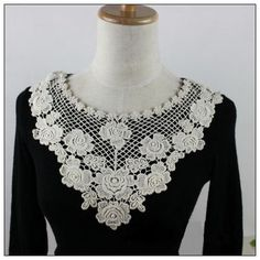 Off White Cotton Collar Venice Embroidery Lace Collar Appliques Big V Floral Emboridey Collar 1 pcs