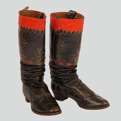 Woman's boots decorated with red leather and white backstitching. Western Krakowiak Folk, Mników, P. European Costumes, Rodeo Boots, Boot Scootin Boogie, Gypsy Style, My Style, Fast Sports Cars, Monochrome Outfit, Vintage Gypsy, Cute Boots