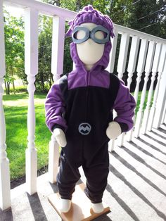 Child Size 2T/3 Evil Purple Minion Costume For Halloween