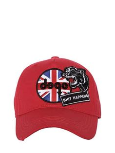 DSQUARED2 SHIT HAPPENS PATCHES CANVAS BASEBALL CAP.  dsquared2   Parches bfedf92f241