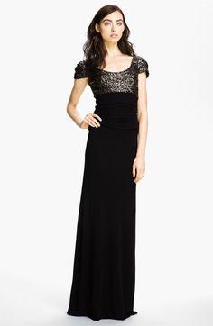 Badgley Mischka Puff Sleeve Sequin & Mesh Gown