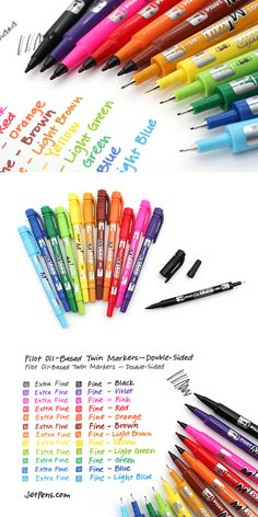 The Pilot Oil-Based Twin Markers write on all sorts of media, including paper… Jet Pens, Cute School Supplies, Copics, Prismacolor, Paint Pens, Pen And Paper, Art Supplies, Office Supplies, Stationary Supplies