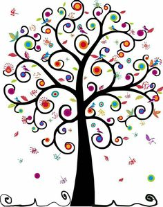 swirly tree of life with birds and color Tree Of Life Art, Tree Art, Button Art, Tree Designs, Art Plastique, Rock Art, Doodle Art, Painted Rocks, Art Projects