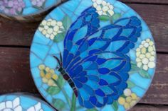 Blue Butterfly Mosaic Stepping Stone