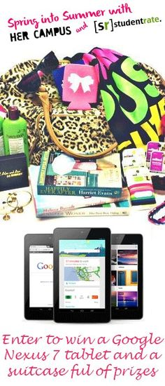 Studentrate and Her Campus  have teamed up to bring you a GIVEAWAY!! Win a duffle bag full of beauty products, a tablet, a $100 gift card, jewelery and tons of other goodies! (Worth over $500!!) http://promoshq.wildfireapp.com/website/6/contests/309476 #SpringintoSummer