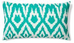 Ikat 14x24 Cotton Pillow, Emerald Green