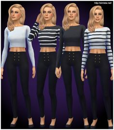 Simista: Long Sleeve Crops • Sims 4 Downloads