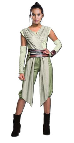 A new Star Wars movie means new galactic heroes to root for! This Adult Deluxe Star Wars Ep. 7 Rey Costume recreates the look of the character from The Force Awakens. You may recognize her from the tr