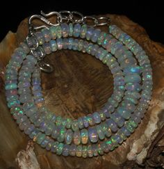 """59 Crts 1 Necklace 3to8mm 15"""" Beads Natural Ethiopian Welo Fire  Opal  60315"""