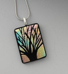 Tree of Life Hand Etched Fused Glass Pendant Dichroic by GlassCat