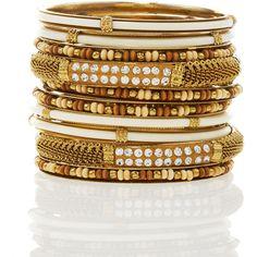 Chamak by Priya Kakkar Ten-Piece Wood-Bead Bangle Set ($43) ❤ liked on Polyvore featuring jewelry, bracelets, accessories, bangles, pulseras, chamak by priya kakkar bangles, bangle set, hinged bangle, hinged bracelet and bracelets bangle