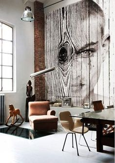 So cool! Conceptual photo mural of a woman's head - Antonio Mora via Atticmag