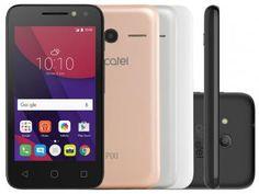 """Smartphone Alcatel PIXI4 4 Metallic 8GB Dual Chip - 3G Câm. 8MP + Selfie 5MP Flash Tela 4"""" Quad Core"""