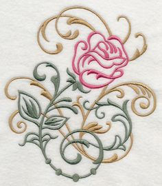 lively swirls and leaves dress up this pretty flower design light enough to stitch on many different fabrics machine embroidery