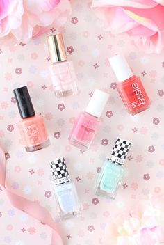 My nail polish picks for spring 2017 featuring varnishes from Essie, Rimmel, Barry M and L'Oreal.  Flat lay from beauty blog The Makeup Directory www.themakeupdirectory.co.uk