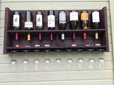Simplistic - reclaimed wood wine rack - large stained ( summer sale )