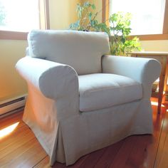Beautiful slipcovers for Ikea Ektorp chair! Custom Slipcovers, Furniture Slipcovers, Slipcovers For Chairs, Hemp, Armchair, Ikea, Canada, Beautiful, Home Decor