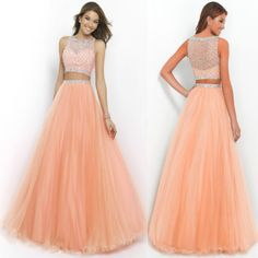 Long Orange Two Piece Prom Ball Dress Women Bead Tulle Formal Evening Party Gown Prom Dresses Red Formal Dresses, Orange Prom Dresses, Formal Gowns, Prom Dresses Two Piece, Ball Dresses, Dress Long, Evening Party Gowns, Evening Dresses, Pretty Dresses