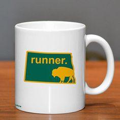 North Dakota Runner Ceramic Mug - Show off your pride for North Dakota with this great North Dakota Runner Ceramic Coffee Mug.