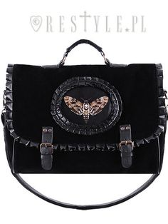 "Briefcase ""MOTH BLACK"" satchel black velvet cameo bag, gothic handbag A4"