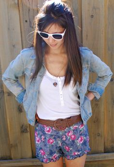 Denim Jacket and Floral Shorts Outfit