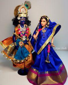 Radha Krishna Gopi Dolls customized Barbie and Ken by GopiDesigns Ooak Dolls, Barbie Dolls, Folk Costume, Costumes, World Thinking Day, Girls Together, Ken Doll, Hindus, Doll Parts