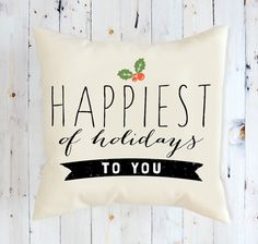 Christmas Pillow, Pillow, Decorative Throw Pillow Happiest Decor Holiday Decor Home Decor Home and Living #forsale #etsy #holidaysyouandme #giftsunder25 $24