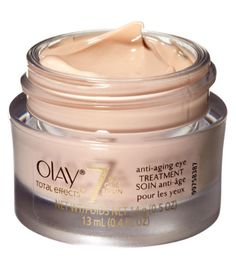 Vitamins B3, E and B5 minimize dark circles, puffy lids and fine lines. Olay Total Effects 7-in-One Eye Treatment, $15.95; Amazon.com