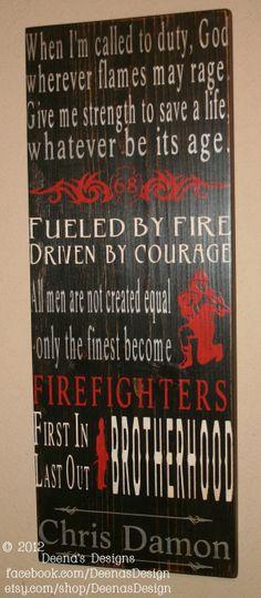 Firefighter Wall Art thin red line, fireman gift, fire department sign, firefighter