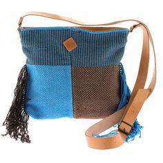 "Unique handmade handwoven LOOM crossbody bag ""Ariadne"" ❤ liked on Polyvore featuring bags, handbags, shoulder bags, purses crossbody, leather crossbody, crossbody purse, blue leather handbags and leather crossbody handbags"