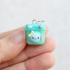 I saw a picture of kawaii washing machine on the internet and I made one last night before I got myself cut clumsy. So far, I could made only one charm from 4 charms as targeted #polymerclay #handmade