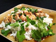 Making a little homemade chicken teriyaki, with a jasmine rice, pineapple, chili paste, sesame seeds, green onion, leeks, and cilantro.