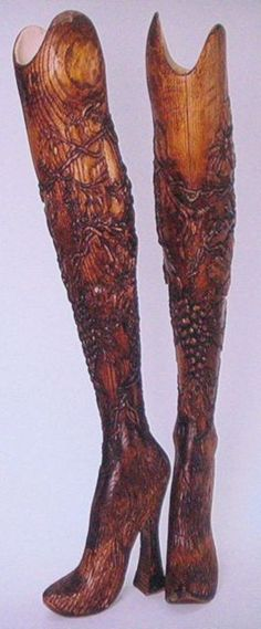 Alexander McQueen Hand Carved Prosthetic Legs for Aimee Mullins