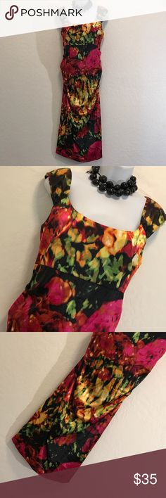 London Times Bold Print Ruched Cocktail Dress Excellent Condition, Gorgeous Bold Colors & Print, Stretch, Gathered Side, Back Zipper. Dresses